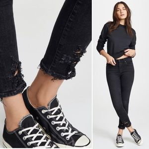 AGOLDE Jeans Sophie Crop High Rise Black Raw Hem